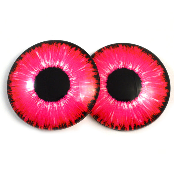 Hot Pink Neon Glass Eyes for Dolls and Polymer Clay Creatures