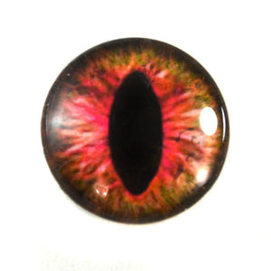 Pink and Brown Cat or Dragon Glass Eye
