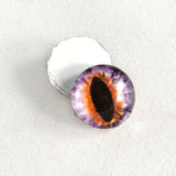 Purple and Orange Cat or Dragon Glass Eyes