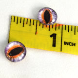 10mm Purple and Orange Cat or Dragon Glass Eyes