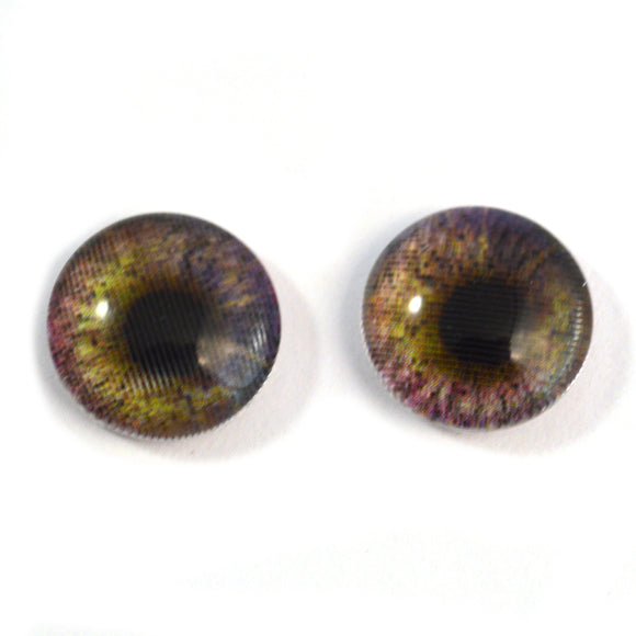 14mm Changing Purple and Yellow Animated Doll Glass Eyes