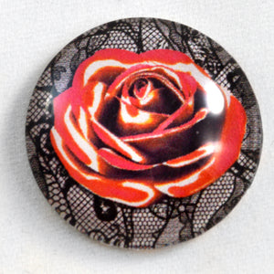 Red and White Rose with Lace Glass Cabochon