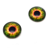 Sensational Green and Orange Creature Glass Eyes