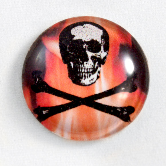 Fiery Skull and Crossbones Glass Cabochon