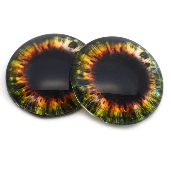 Vivid Green and Orange Wide Iris Glass Eyes