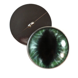 Sew On Buttons Wide Dark Green Dragon Glass Eyes