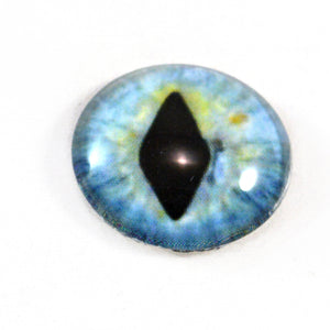 Pastel Dragon or Cat Glass Eye in Blue and Green