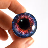 Blue and Red Fantasy Glass Eye