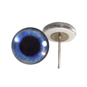Blue Crow Glass Eyes on Wire Pin Posts