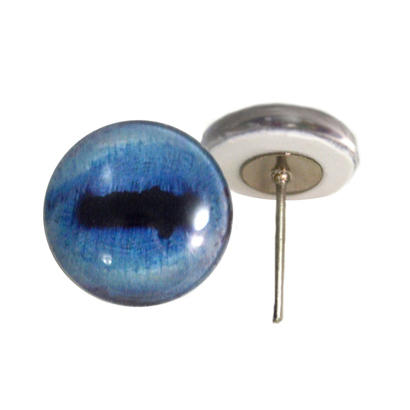 Blue Goat Glass Eyes on Wire Pin Posts