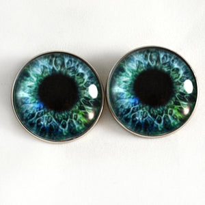Sew On Buttons Blue and Green Human Glass Eyes
