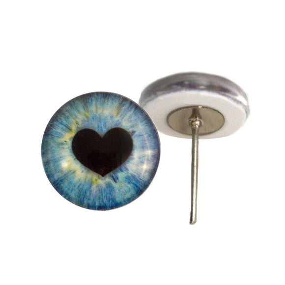 Blue Heart Glass Eyes on Wire Pin Posts