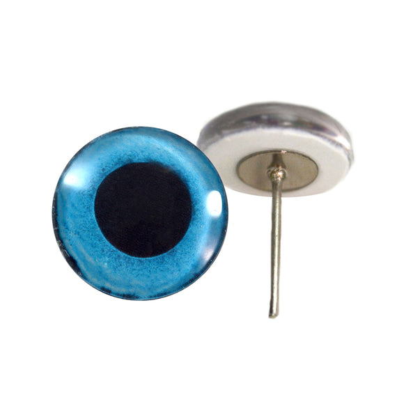 Blue Snow Owl Glass Eyes on Wire Pin Posts