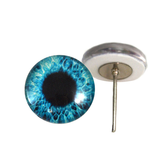 Bright Blue Human Glass Eyes on Wire Pin Posts