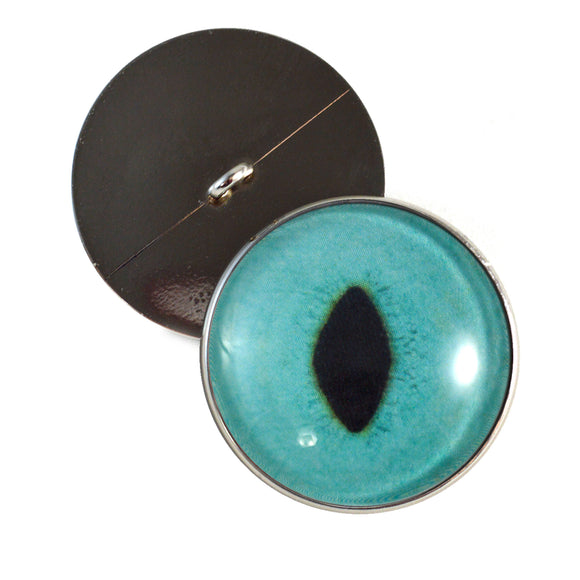 Sew On Buttons Turquoise Cat Glass Eyes