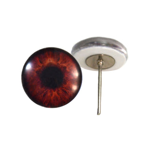 Dark Brown Human Glass Eyes on Wire Pin Posts