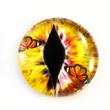 Yellow Dragon Glass Eye with Monarch Butterflies