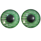 Green Code Cyberpunk Glass Eyes