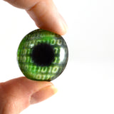 Green Code Cyberpunk Glass Eye