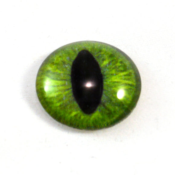 Dark Lime Green Cat Glass Eye
