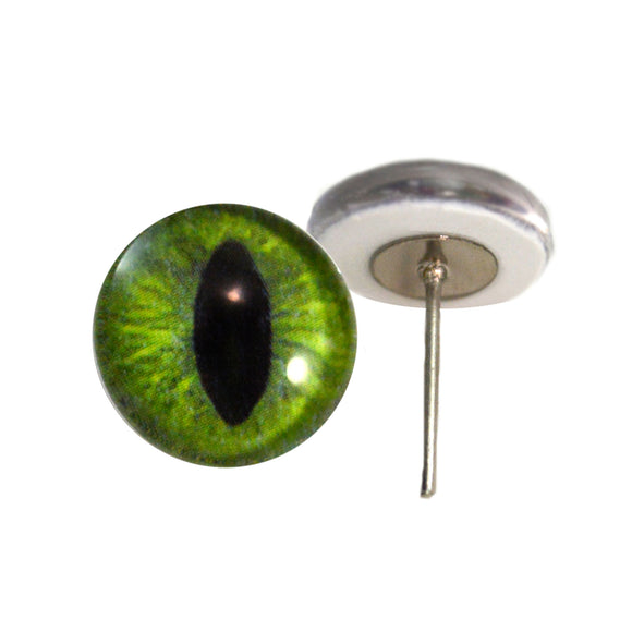 Dark Lime Green Cat Glass Eyes on Wire Pin Posts