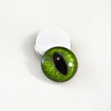 Dark Lime Green Cat Glass Eyes