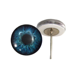 Deep Blue Human Glass Eyes on Wire Pin Posts