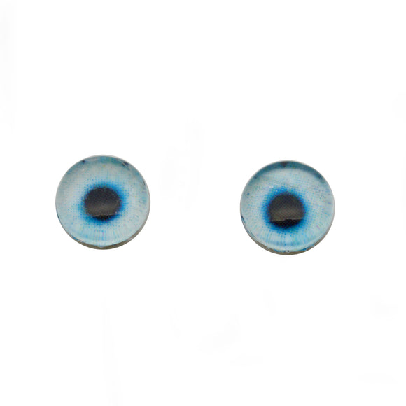 8mm Glow in the Dark Soft Blue Round Glass Eyes