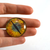 Gold and Teal Green Dragon Glass Eye