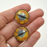 20mm Gold and Teal Green Dragon Glass Eyes