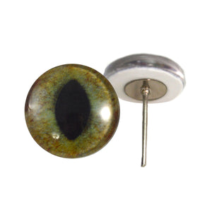 Realistif Green and Brown Cat Glass Eyes on Wire Pin Posts