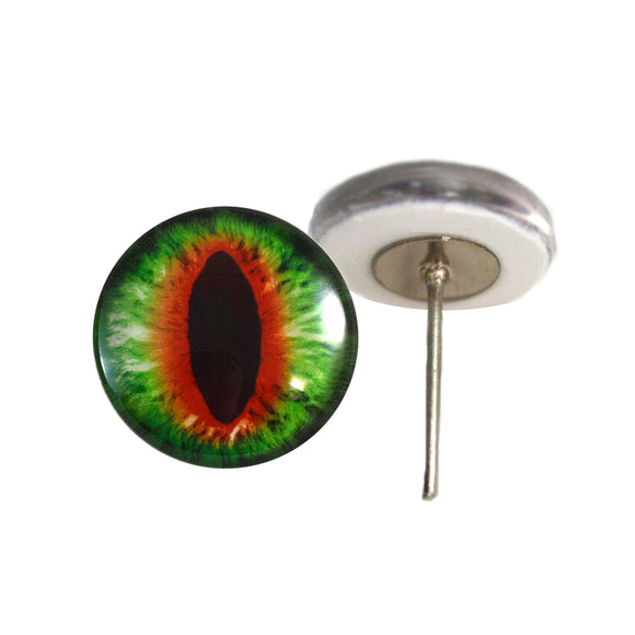 Green and Orange Dragon Glass Eyes on Wire Pin Posts