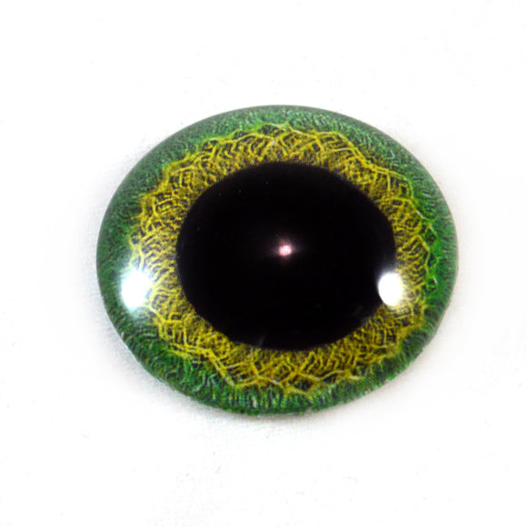 Green and Yellow Celtic Weave Glass Eye