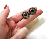 Steampunk Gear Glass Eyes in Olive Green