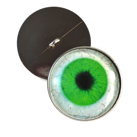 Sew On Buttons Bright Green Human Glass Eyes with Whites