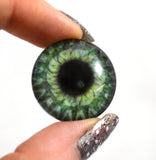 Steampunk Gear Glass Eye in Olive Green