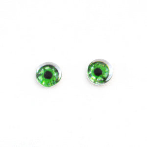 Small 6mm Intense Green Doll Glass Eyes with Whites