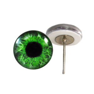 Intense Green Human Glass Eyes on Wire Pin Posts