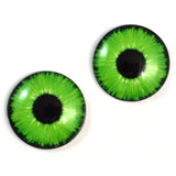 Green Neon Glass Eyes for Dolls and Polymer Clay