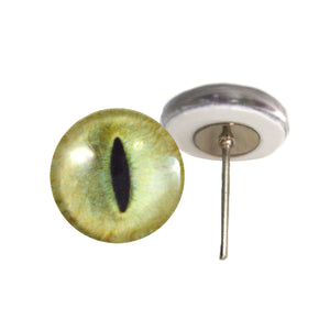 Pale Yellow Cat Glass Eyes on Wire Pin Posts