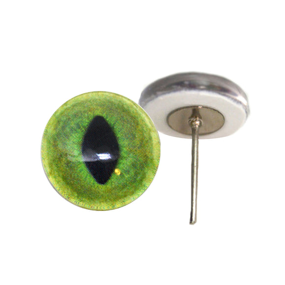 Pale Green Cat Glass Eyes on Wire Pin Posts