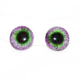 Purple and Green Round Fantasy Glass Eyes