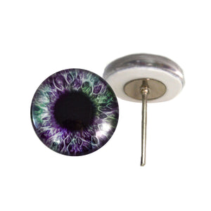 Purple and Green Human Glass Eyes on Wire Pin Posts