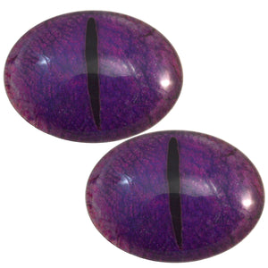 Purple Oval Dragon Glass Eyes