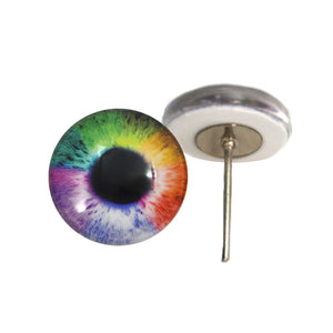 Rainbow Glass Eyes on Wire Pin Posts