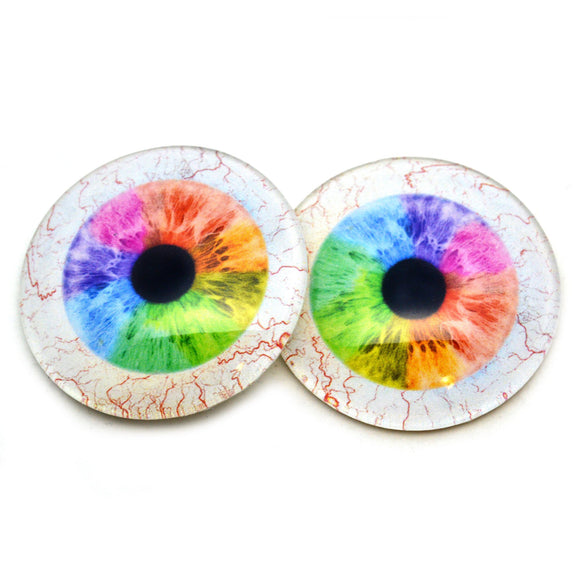 Rainbow Human Glass Eyes with Whites
