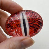 Glowing Red and White Dragon Oval Glass Doll Eyes
