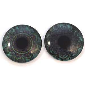 Teal Lace Mandalas Animated Glass Eyes