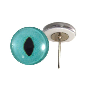 Turquoise Cat Glass Eyes on Wire Pin Posts
