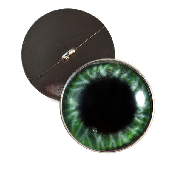 Sew On Buttons Wide Green Glass Eyes